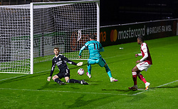 LONDON, ENGLAND - Friday, October 30, 2020: Liverpool's captain Liam Millar sees his shot saved by Arsenal's goalkeeper Hubert Graczyk during the Premier League 2 Division 1 match between Arsenal FC Under-23's and Liverpool FC Under-23's at Meadow Park. Liverpool won 1-0. (Pic by David Rawcliffe/Propaganda)