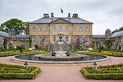 Dumphries House, an 18th Century Palladian country house, neo-classical style, fountain, maze and estate in Ayrshire, Scotland