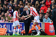 Joe Allen of Stoke city is replaced by Peter Crouch of Stoke city (r) as Stoke manager Mark Hughes looks on.  Premier league match, Stoke City v West Ham Utd at the Bet365 Stadium in Stoke on Trent, Staffs on Saturday 29th April 2017.<br /> pic by Bradley Collyer, Andrew Orchard sports photography.