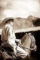 Cowboy on horse in the Sacred Valley, Peru.