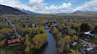Aerial photograph of Fish Creek in Wilson, Wyoming