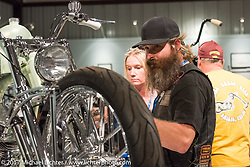Michael Ulman at the Old Iron - Young Blood exhibition media and industry reception in the Motorcycles as Art gallery at the Buffalo Chip during the annual Sturgis Black Hills Motorcycle Rally. Sturgis, SD. USA. Sunday August 6, 2017. Photography ©2017 Michael Lichter.