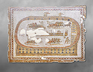 Late 2nd early 3rd century AD Roman mosaic depictiong a  chariot race at the circus. From Cathage, Tunisia.  The Bardo Museum, Tunis, Tunisia. Grey background .<br /> <br /> If you prefer to buy from our ALAMY PHOTO LIBRARY  Collection visit : https://www.alamy.com/portfolio/paul-williams-funkystock/roman-mosaic.html - Type -   Bardo    - into the LOWER SEARCH WITHIN GALLERY box. Refine search by adding background colour, place, museum etc<br /> <br /> Visit our ROMAN MOSAIC PHOTO COLLECTIONS for more photos to download  as wall art prints https://funkystock.photoshelter.com/gallery-collection/Roman-Mosaics-Art-Pictures-Images/C0000LcfNel7FpLI