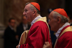 Apr 24, 2017 - Vatican City State (Holy See) - Cardinal PIETRO PAROLIN during the funeral service of Cardinal Attilio Nicora in St. Peter's Basilica a t the Vatican. (Credit Image: © Evandro Inetti via ZUMA Wire)