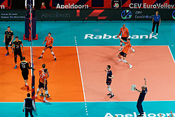 21-09-2019 NED: EC Volleyball 2019 Netherlands - Germany, Apeldoorn<br /> 1/8 final EC Volleyball / Centercourt view Thijs Ter Horst #4 of Netherlands, Nimir Abdelaziz #14 of Netherlands, Wessel Keemink #2 of Netherlands