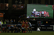 tv screen. Guinness Pro14 rugby match, Cardiff Blues v Dragons at the Cardiff Arms Park in Cardiff, South Wales on Friday 6th October 2017.<br /> pic by Andrew Orchard, Andrew Orchard sports photography.