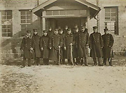 Russo-Japanese War 1904-1905: Group of Japanese officers in front of the legation building at Chemulpo, Korea, 1904.