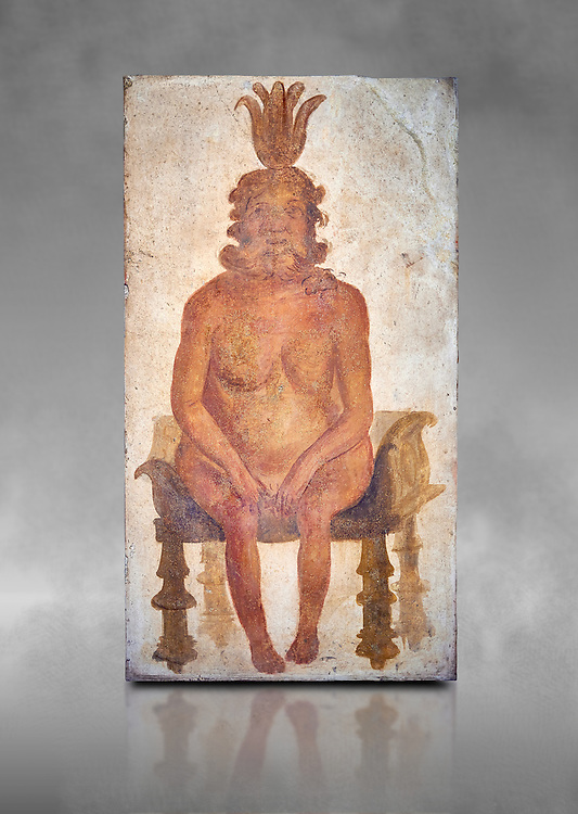 Roman fresco wall painting from the Sacrarium of the Temple of Isis in Pompeii depicting the Egyptian god Bes, God of war but also childbirth and the home, and was associated with sexuality, humour, music and dancing, North wall of Sacrarium, Naples National Archaeological Museum , inv 1.72 , Naples National Archaeological Museum , grey art background .<br /> <br /> If you prefer to buy from our ALAMY PHOTO LIBRARY  Collection visit : https://www.alamy.com/portfolio/paul-williams-funkystock - Scroll down and type - Roman Fresco Naples  - into LOWER search box. {TIP - Refine search by adding a background colour as well}.<br /> <br /> Visit our ROMAN ART & HISTORIC SITES PHOTO COLLECTIONS for more photos to download or buy as wall art prints https://funkystock.photoshelter.com/gallery-collection/The-Romans-Art-Artefacts-Antiquities-Historic-Sites-Pictures-Images/C0000r2uLJJo9_s0