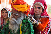 Traditional Rajasthani  musician with a dancer of Kuchipudi on the 20th January 2018  in the village of Shilpgram, Udaipur, India.