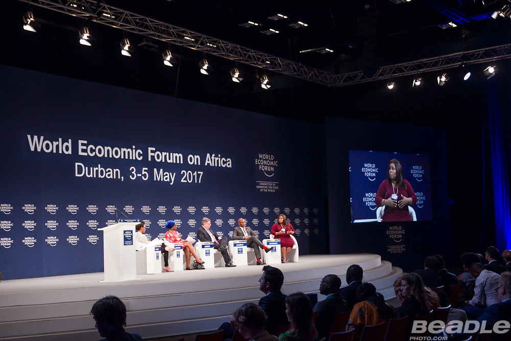 Philipp Rösler, Head of Regional and Government Engagement, Member of the Managing Board<br /> World Economic Forum, Vimbayi Kajese, Founder<br /> #Adtags, Winnie Byanyima, Executive Director<br /> Oxfam International, Rich Lesser, Global Chief Executive Officer and President<br /> The Boston Consulting Group,  Tony O. Elumelu, Chairman<br /> UBA Group, Lindiwe Mazibuko, Leader of the Opposition, Parliament of South Africa (2011-2014)<br /> Democratic Alliance (DA) at the World Economic Forum on Africa 2017 in Durban, South Africa. Copyright by World Economic Forum / Greg Beadle