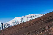 Part of the glaciers on the southern icefield on Kilimanjaro. According to recent research, the current glaciers began to form in 9700BC but are fast disappearing.