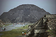 The Moon Pyramid, dedicated to Chalchihuitlicue, goddess of lakes and streams. The Street of the Dead leads up the pyramid. Teotihuacan, Mexico.