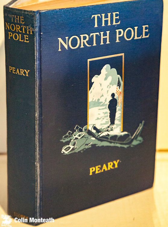 THE NORTH POLE - Its discovery in 1909 under the auspices of the Peary Arctic Club, Robert E Peary with an introduction by Theodore Roosevelt. Frederick stokes, New York, 1910. Overall VG+ bright and fine original boards with embossed design, gilt titles, new end papers, 4/5 pages near start of book minor water stain, large fold out coloured map showing all routes towards the North Pole - ( unlike Frederick Cook's book Conquest of the North Pole that had NO map) - you judge whether Peary was first at the pole - a cornerstone of any polar library, This copy has my bookplate $NZ300