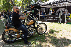 Testing out bars at the Pangea Speed booth at the Born-Free Vintage Motorcycle show at Oak Canyon Ranch, Silverado, CA, USA. Sunday, June 23, 2019. Photography ©2019 Michael Lichter.