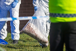 © Licensed to London News Pictures. 14/02/2019. Thurcroft UK. Police forensic officers at the scene on Cedric Crescent in Thurcroft near Rotherham this morning where a woman has died after suffering a Cardiac Arrest. A 39 year old woman has been arrested in connection to her death & is currently in police custody. Emergency services where called to a property on Cedric Crescent just before 20:50 pm after reports of an altercation between two women. Initial reports suggested the woman who died was in her 20's, South Yorkshire Police have now said she is believed to be in her 30's. Photo credit: Andrew McCaren/LNP