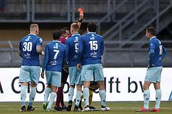 Referee Martin Perez (CL), Luigi Bruins of Excelsior (R) during the Dutch Eredivisie match between Roda JC Kerkrade and sbv Excelsior Rotterdam at the Parkstad Limburg stadium on January 28, 2018 in Kerkrade, The Netherlands