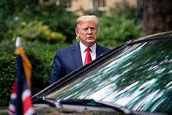 © Licensed to London News Pictures. 04/06/2019. London, UK. The President of the United States of America Donald Trump arrives in Downing Street to meet British Prime Minister Theresa May (not pictured) as part of Trump's state visit to the United Kingdom. Photo credit : Tom Nicholson/LNP