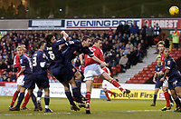 Photo: Glyn Thomas.<br />Nottingham Forest v Walsall. Coca Cola League 1.<br />10/12/2005.<br />Forest's Ian Breckin (R of the centre group of players) heads in his team's equaliser.