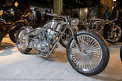 Koh Sakaguchi's Suicide Custom' 1981 Ironhead Harley-Davidson Sportster for which he made the rocker boxes and heads on his C&C in his Japan shop. On display in the AMD World Championship of Custom Bike Building in the Intermot Customized hall during the Intermot International Motorcycle Fair. Cologne, Germany. Sunday October 7, 2018. Photography ©2018 Michael Lichter.