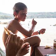 Boy looks at a Nutella box.