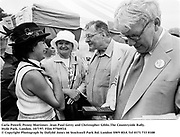 Carla Powell, Penny Mortimer, Jean Paul Getty and Christopher Gibbs.The Countryside Rally. Hyde Park, London. 10/7/97. Film 97569f14<br />© Copyright Photograph by Dafydd Jones<br />66 Stockwell Park Rd. London SW9 0DA<br />Tel 0171 733 0108