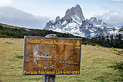 "From El Chalten, we hiked to Mirador ""Loma del Pliegue Tumbado"" (""hill of the collapsed fold""), 19 km (11.9 mi) with 1170 meters (3860 ft) cumulative gain in Los Glaciares National Park. This trail gave good views of Cerro Fitz Roy (3405 m or 11,171 ft elevation) high above Torre Lake, but clouds hid Cerro Torre that day. El Chalten mountain resort is 220 km north of El Calafate. Chaltén comes from a Tehuelche word meaning ""smoking mountain"", due to clouds that usually form over Monte Fitz Roy. El Chalten mountain resort is in Santa Cruz Province, Argentina, Patagonia, South America. Los Glaciares National Park and Reserve are honored on UNESCO's World Heritage List."