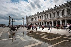 Architecture reflected in flood water, Piazza San Marco, Venice, Italy.<br /> Photo: Ed Maynard<br /> 07976 239803<br /> www.edmaynard.com
