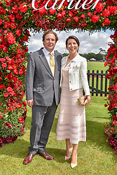 Anton Rupert Jr. and Alice Rivier at the Cartier Queen's Cup Polo 2019 held at Guards Polo Club, Windsor, Berkshire. UK 16 June 2019. <br /> <br /> Photo by Dominic O'Neill/Desmond O'Neill Features Ltd.  +44(0)7092 235465  www.donfeatures.com