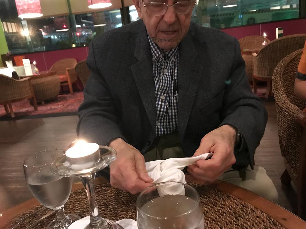 Waitress shows Steve how it's done.