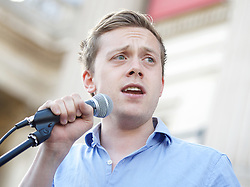 Owen Jones speaks at the Greece Solidarity Campaign Rally in Trafalgar Square London, Great Britain 29th June 2015 <br /> <br /> Greece Solidarity Campaign Rally<br /> <br /> <br /> Photograph by Elliott Franks <br /> Image licensed to Elliott Franks Photography Services