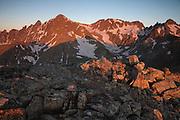 Sunrise, Castle Peak 14,265ft and Conundrum Peak 14,060ft, Elk Mountains, Colorado.