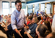 Mahlon Mitchell greets with supporters before the Final Four Democratic Gubernatorial candidate forum, presented by Wisconsin's Choice, at the Goodman Community Center in Madison, Wisconsin, Sunday, July 15, 2018.