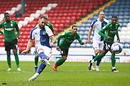 Goal 1-1 Blackburn Rovers forward Adam Armstrong (7) scores a goal 1-1 from the penalty spot  during the EFL Sky Bet Championship match between Blackburn Rovers and Birmingham City at Ewood Park, Blackburn, England on 8 May 2021.