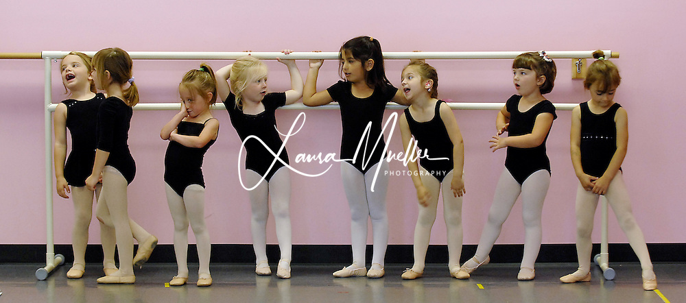 5/20/08 April(3rd from rt) waits with the other young ballerinas in her class before dancing across the studio floor. L.MUELLER/The Charlotte Observer