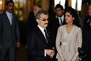 Saudi Princess Amira, Prince Alwaleed Bin Talal Bin Abdul Aziz Alsaud at the opening of the Savoy hotel, London.