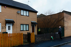 © Licensed to London News Pictures. 19/02/2014. Bradford West Yorkshire. 39 Delamere Street Bradford, A two year old girl died, and a woman in her 30s is in a critical condition after they were discovered outside this house in Delamere Street Bradford. Photo credit : Paul Thompson/LNP