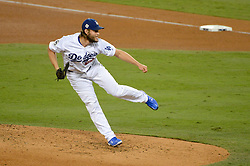 November 1, 2017 - Los Angeles, CA, United States - Dodgers Clayton Kershaw, #22, was brought in during the second inning to relieve Yu Darvish who gave up 5 runs in game 7 at the World Series at Dodger Stadium Wednesday, November 1, 2017. (Credit Image: © David Crane/Los Angeles Daily News via ZUMA Wire)