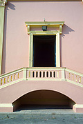 An architectural detail of The Notre Dame des Anges church, Pondicherry, India. Built in the 1850s the church is in the  French Quarter of the town and looks out towards the Indian Ocean