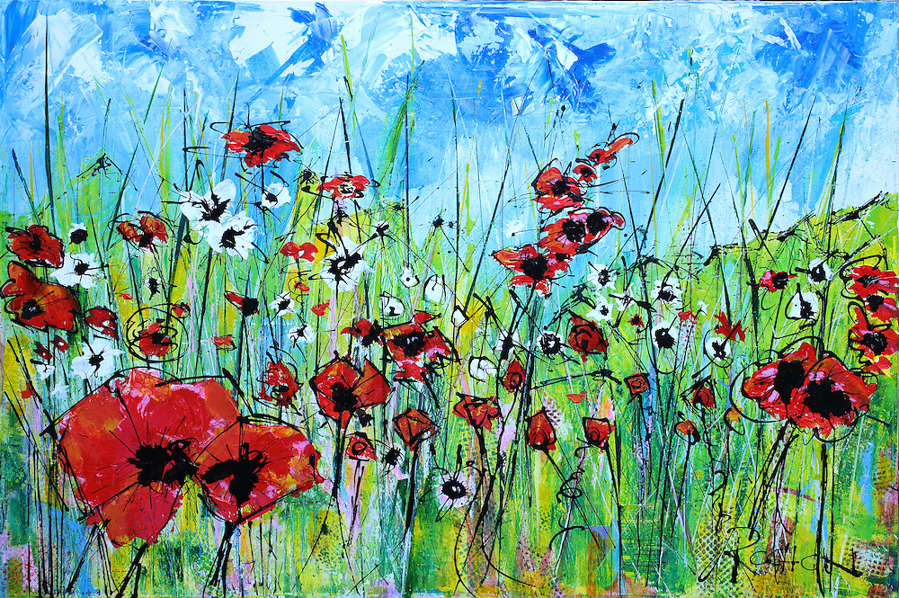 Who doesn't love poppies!<br /> <br /> My skies always come in first, not sure why, they just do, and they always show me where the painting will go - and give me a glimpse, the truth as to where I am, emotionally. Skies come quick, that's how I know they are my emotions expressing themselves, showing me the way.<br /> <br /> There is no hiding from the canvas - I can try, but it never works. When I approach a blank white canvas, I bring with me my current state of mind. Often, I intend to wish myself away from my emotional state by painting in an opposite direction in order to change my state. This never works, thank God, or my paintings would be garbage - they would simply be copies of nature, or something static - they would not be honest. This painting, 'POPPIES,' was a wonderful exception, where my intention matched the outcome.<br /> <br /> I stepped up to that canvas, in a hopeful, carefree mood, wanting to celebrate life, the feelings I had on a recent walk seeing a field poppies that I don't usually notice. That day, I did, as I took the time to sit there, for the longest time, enjoying the time, just feeling 'happy' - and I didn't ever want to forget this moment. I wanted to remind myself that the Poppies were there and would always be there, that I could always there, if I pay attention. I could always be happy, if pay attention.