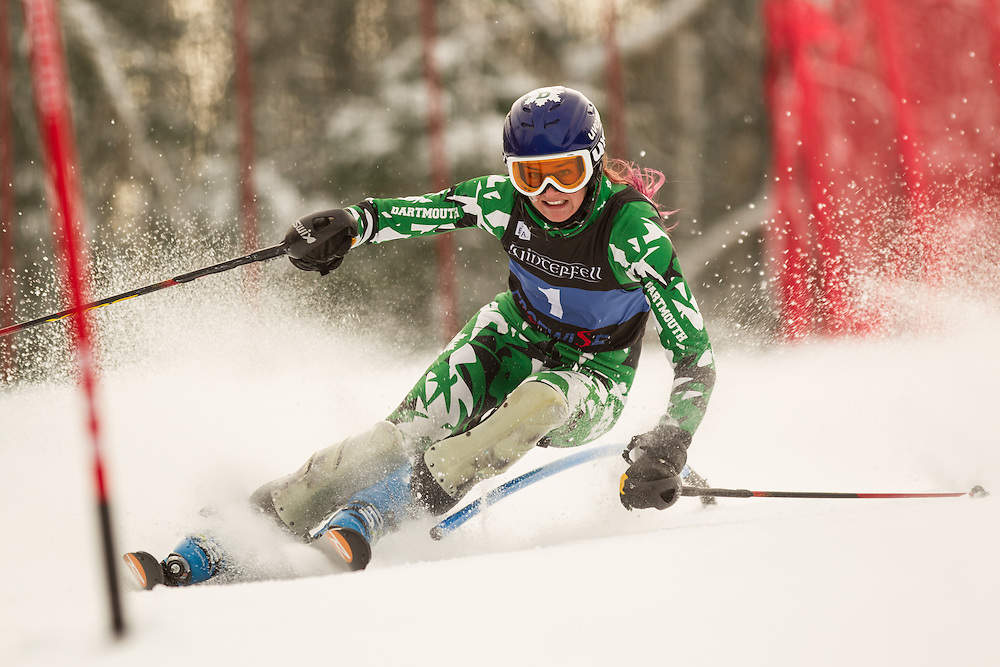 Lizzie Kistler of Dartmouth College, skis during the first run of the women's slalom at the Colby College Carnival at Sugarloaf Mountain on January 18, 2014 in Carabassett Valley, ME. (Dustin Satloff/EISA)