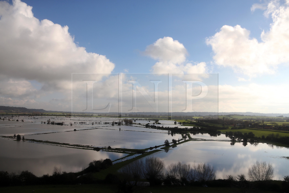 © Licensed to London News Pictures. 06/01/2015. A view over the Somerset Levels near Burrowbridge which are covered in flood water. Photo credit : Jason Bryant/LNP