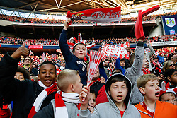 Supporters celebrate in the stands after Bristol City win the match 2-0 to lift the Football League Trophy - Photo mandatory by-line: Rogan Thomson/JMP - 07966 386802 - 22/03/2015 - SPORT - FOOTBALL - London, England - Wembley Stadium - Bristol City v Walsall - Johnstone's Paint Trophy Final.
