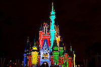 The Magic Memories & You! castle projection show, Cinderella Castle, Magic Kingdom, Walt Disney World, Orlando, Florida USA