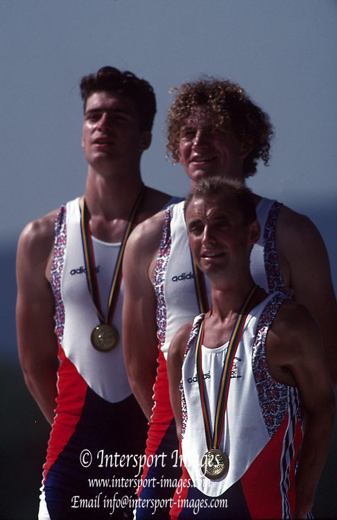 Barcelona Olympic Games 1992, Olympic Regatta - Lake Banyoles.GBR M2+ Greg [left] and Jonny Searle: cox Garry Herbert.    {Mandatory Credit: © Peter Spurrier/Intersport Images]