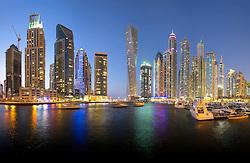 Night skyline of skyscrapers in Marina District of Dubai United Arab Emirates