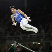 Gymnastics - Olympics: Day 5  Nikolai Kuksenkov #178 of Russia in action during his routine on the Horizontal Bar during the Artistic Gymnastics Men's Individual All-Around Final at the Rio Olympic Arena on August 10, 2016 in Rio de Janeiro, Brazil. (Photo by Tim Clayton/Corbis via Getty Images)