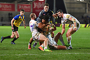 Sale Sharks Halani Aulika is held at the line by Exeter Chiefs wing James Short during the The Aviva Premiership match Sale Sharks -V- Exeter Chiefs  at The AJ Bell Stadium, Salford, Greater Manchester, England on Friday, October 27, 2017. (Steve Flynn/Image of Sport)