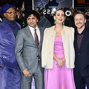Samuel L. Jackson, M. Night Shyamalan, Sarah Paulson and James McAvoy attends Premiere of M. Night Shyamalan's superhero thriller Glass, which follows Unbreakable and Split on 9 January 2019, London, UK.