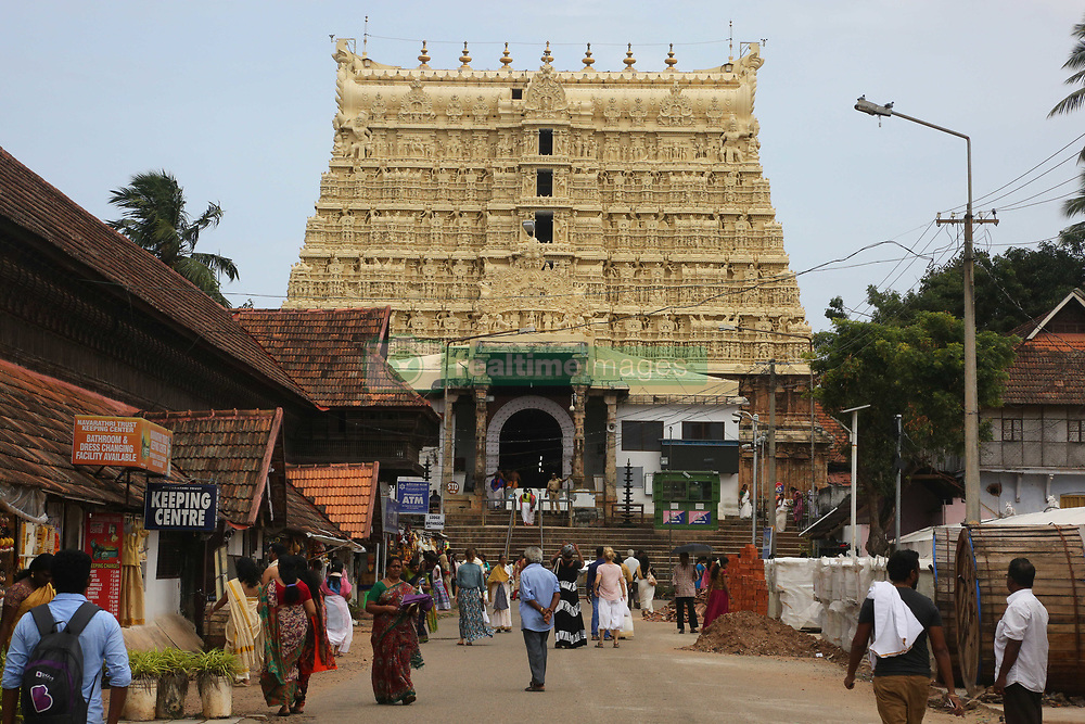 July 26, 2018 - Kerala, Kerala, India - The historic Sree Padmanabhaswamy Temple in Thiruvananthapuram (Trivandrum), Kerala, India. The temple which is more than 260 years old recently came into the spotlight after gold coins and precious stones worth 500 billion rupees (USD 11.2 billion) were found in its vaults. Five vaults of the temple were opened yielding enormous quantities of gold and silver jewelery, coins and precious stones. Following the discovery Kerala police have taken over security from temple staff. (Credit Image: © Creative Touch Imaging Ltd/NurPhoto via ZUMA Press)