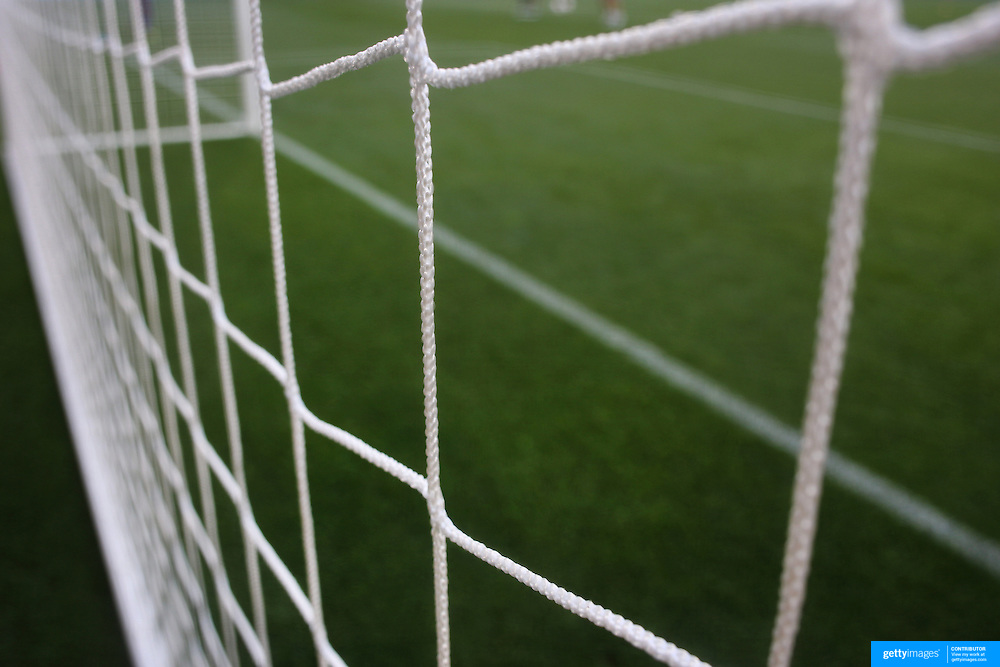 A generic image of a professional soccer goal mouth showing the netting and goal mouth white line. Photo Tim Clayton